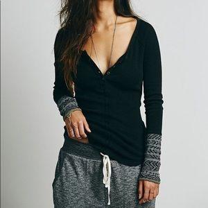 Free People | Black Alpine Knit Sleeve Thermal